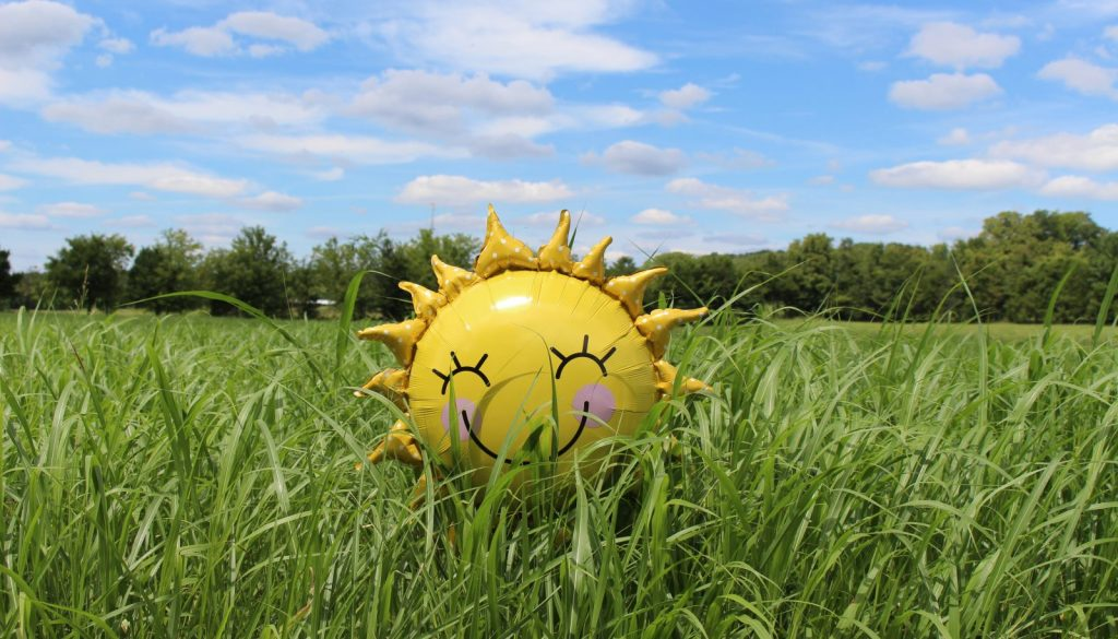 yellow inflatable sun at grass field